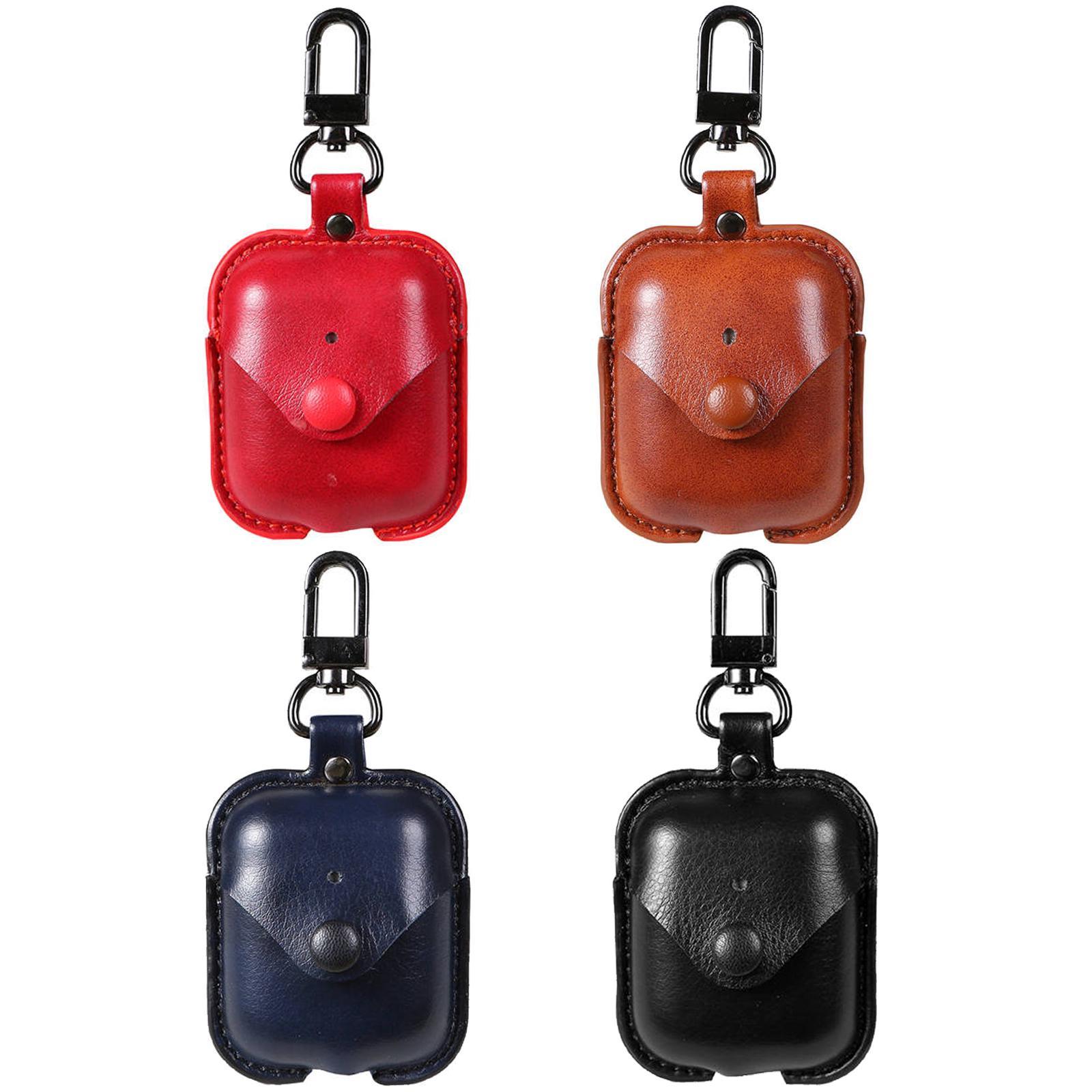 Para iphone airpods casos pu capa de couro fone de ouvido pacote de ar pods protetor com gancho fecho keychain anti perdeu caso do fone de ouvido acessórios