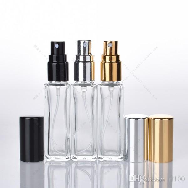 10 мл 1/3 унции длинный тонкий духи атомайзер квадратная форма пустой многоразового прозрачного стекла спрей бутылки путешествия распылители