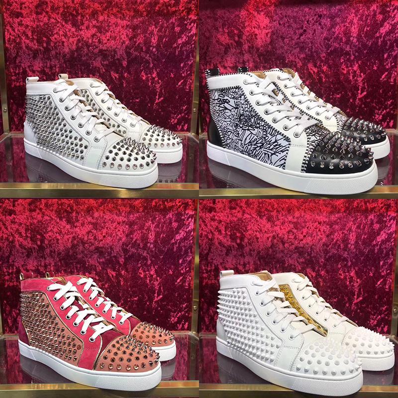 2019 ACE Rouge Bas Marque de luxe de clouté Spikes Flats chaussures casual pour les hommes Party Lovers femmes Véritable __gVirt_NP_NN_NNPS<__ paillettes rivets en cuir Sneaker