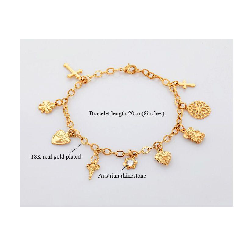 U7 croix de coeur Bracelets pour femmes Bijoux mode cadeau Trendy couleur d'or strass Bracelet Chain Link H513