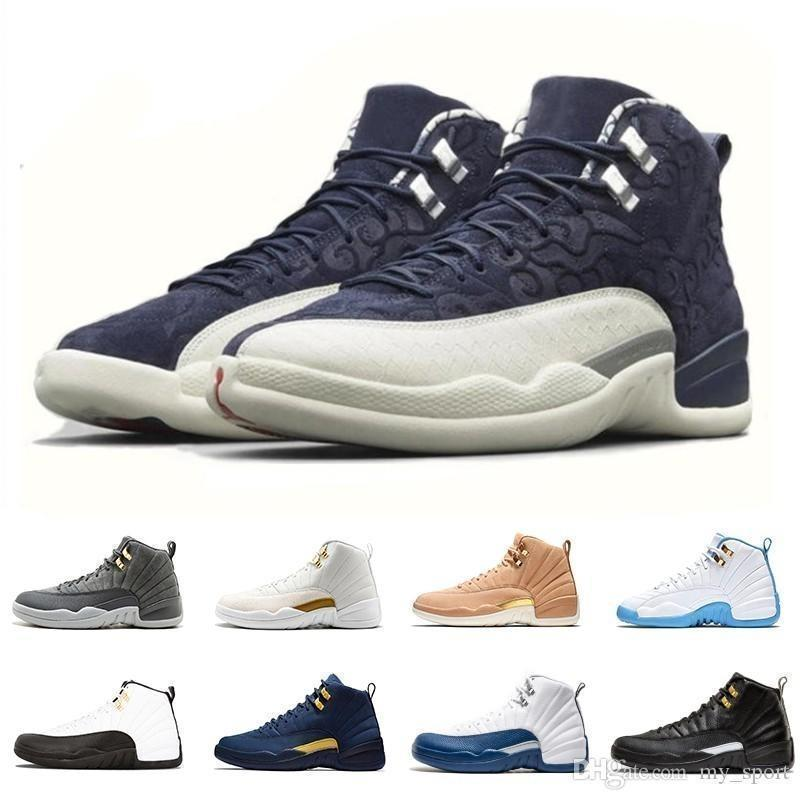 Pack Flight International Graduation 12 Xii 12s Mens Basketball Shoes Michigan Class Of 2003 Taxi Men Trainers Athletic Sports Sneakers