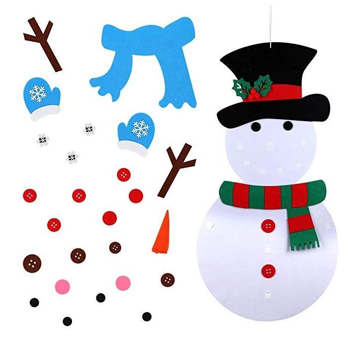 2019 Decoraciones de Navidad de 20 x 39 pulgadas DIY fieltro muñeco de nieve Conjunto de Año Nuevo regalo de Navidad para los niños Parte regalo Juego
