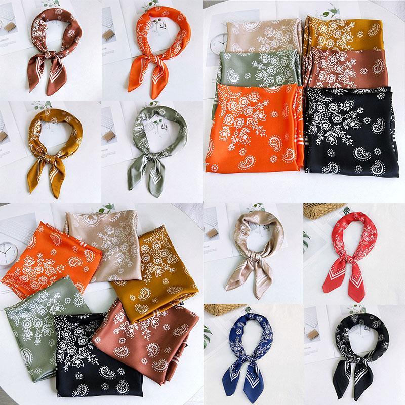 70 * 70cm di moda stampa floreale sciarpa di seta nuove donne di stile capo del collo piccolo quadrato Sciarpa raso I capelli Sciarpa Bandana scialli
