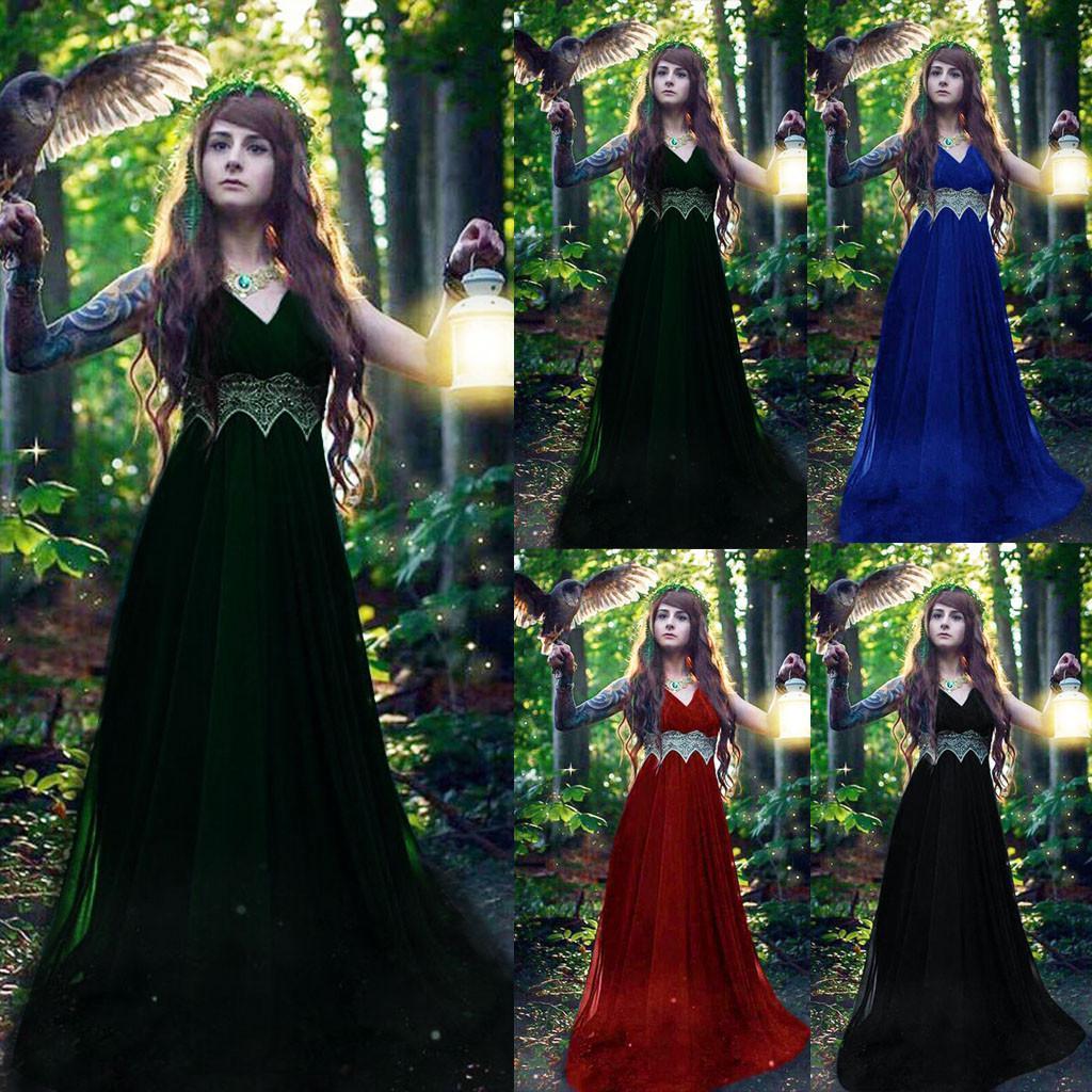 2019 roupas de verão para as Mulheres Medieval Renascimento gótico do laço do vintage V-Neck Cosplay Retro Vestido Longo Vestido Robe Femme 17