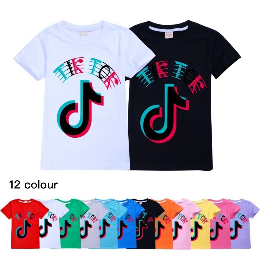 12 Renk Tiktok Çocuk Kısa Kollu T-shirt Pamuk Tshirt Çocuk Giysileri Çocuklar Çocuk / Kız Tees Tik Tok Çocuk T Gömlek Tops