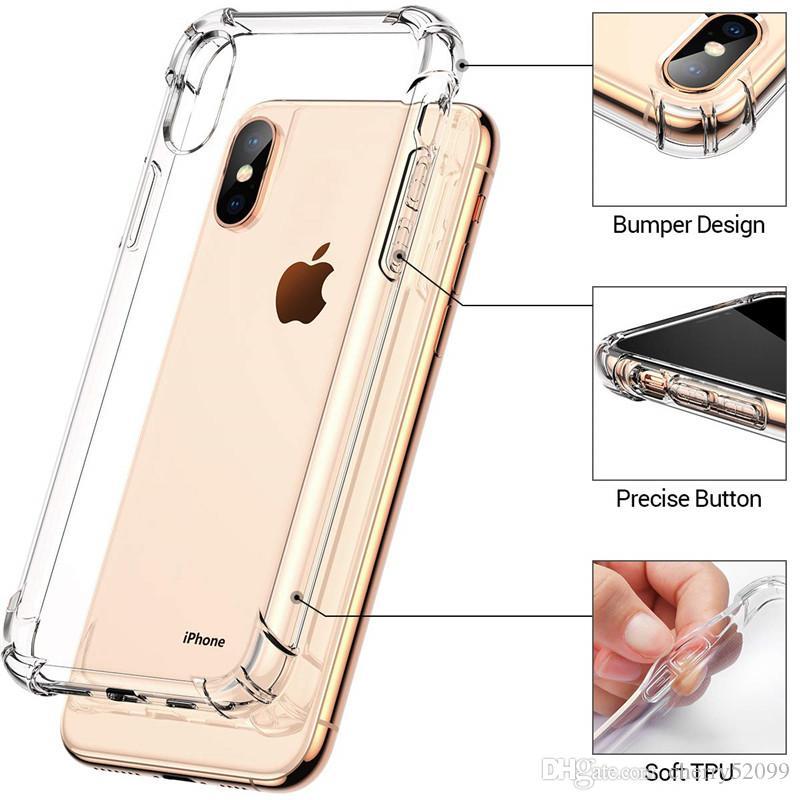 Caso cristalino para el iPhone cubierta de TPU X XS MAX suave con esquinas de los paragolpes Slim Cases transparentes para la Nota 9 S7 de Huawei