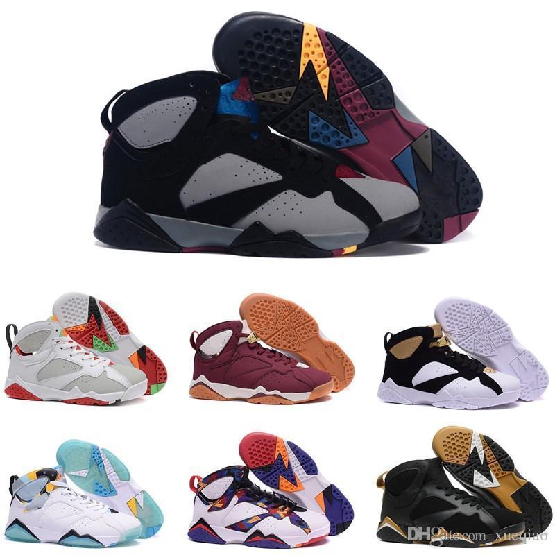 Лучшая обувь Качество 7S Mens Basketball 7 Raptor Бордо Alternate Мужчины Женщины Французский синий свитер Olympic Sneaker Спортивная обувь Размер 7-13