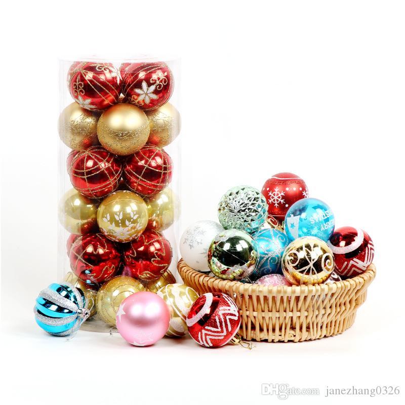 Bola de Natal, 24 Pcs 6 centímetros bolas da árvore de Natal Bola de impressão colorida Ornamento de suspensão Pingentes Shatterproof Bola Set Para Decor Wedding Party