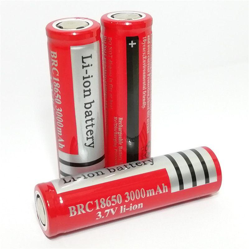 18650 литий-ионный аккумулятор 3000mAh 3.7V Цвет красный плоский литиевая батарея может быть использована в яркий фонарик и так далее.