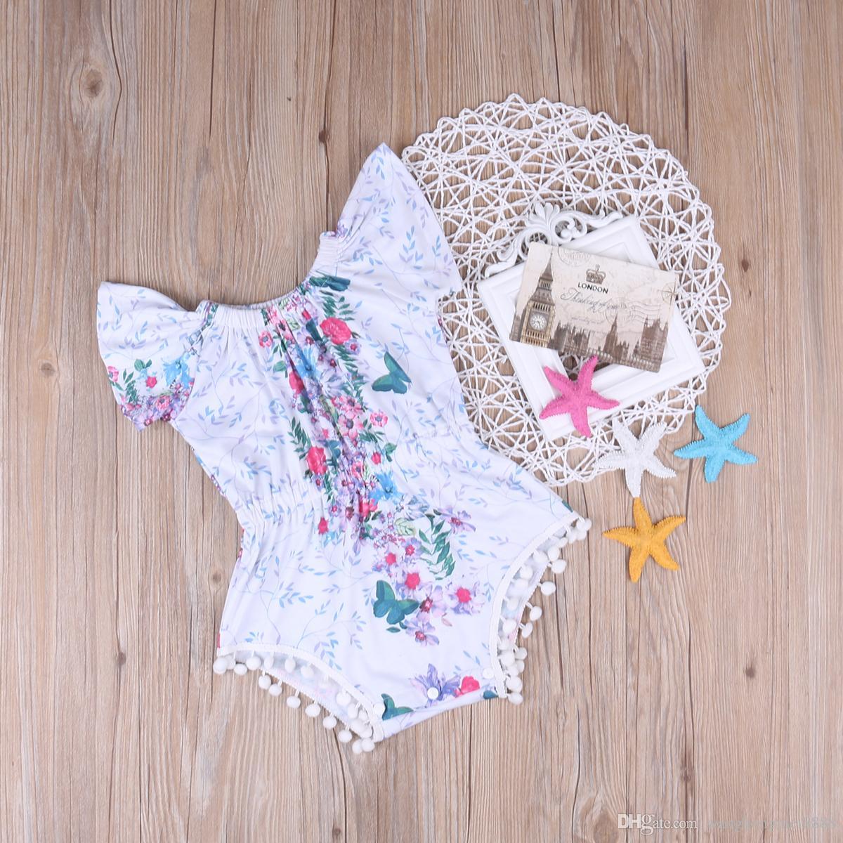2019 Yenidoğan Erkek Bebek Kız Giyim Rahat Yaz Plaj Fashiom Püsküller Parlama Kollu Bodysuit Tulum Kıyafetler Sunsuit Tulum