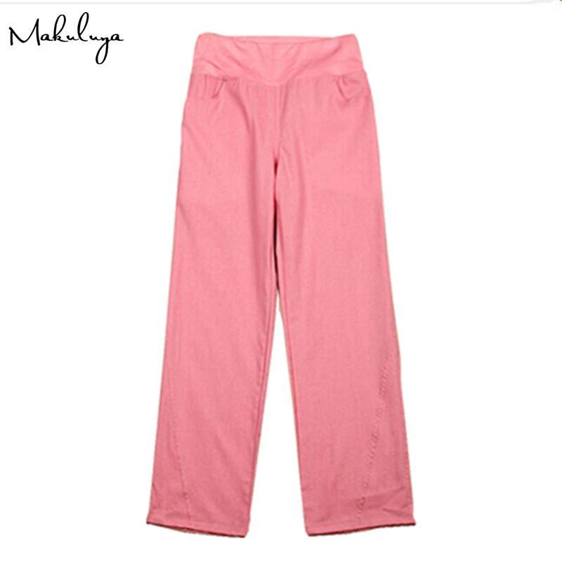 Makuluya Bessere Leinen Fabrik OEM Leinenhosen elastische Taille breite Beinhosen beiläufige Oberseite gerade lose Hose L6