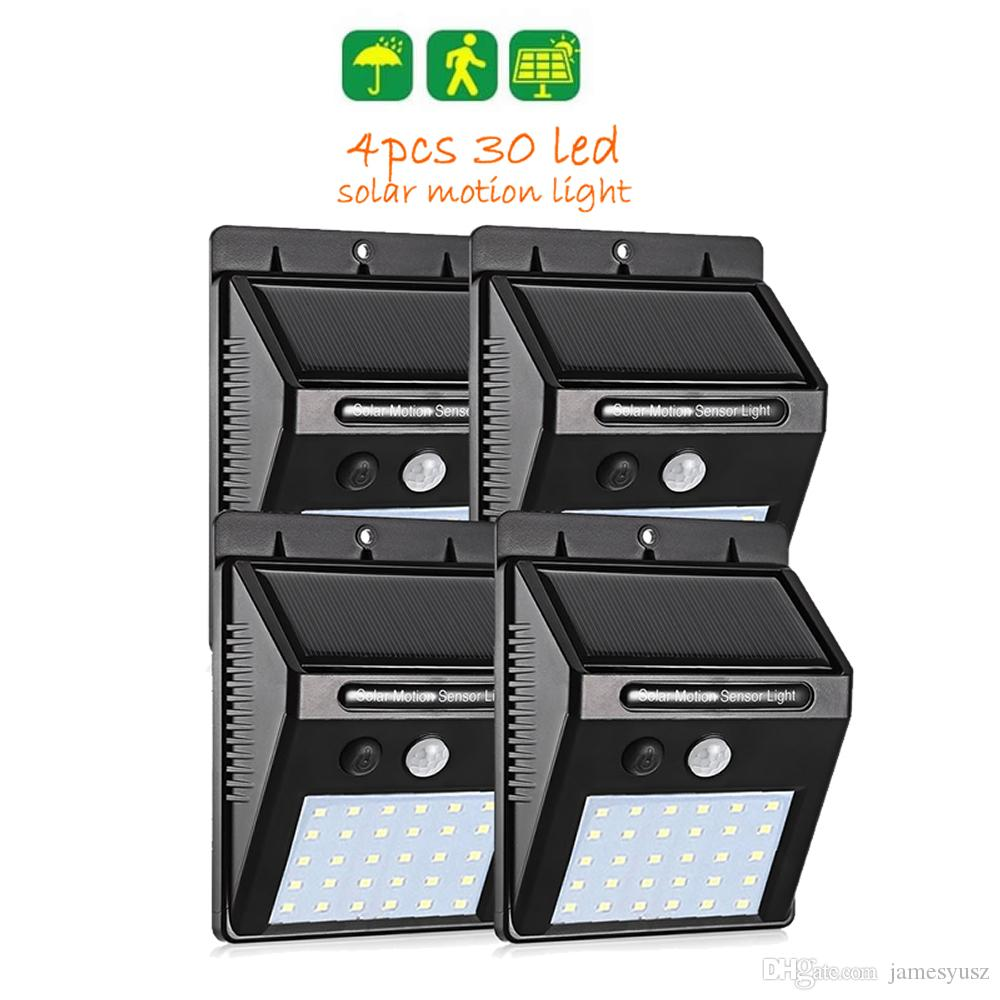 4pcs 30/40 LED Solar Power Lamp PIR Motion Sensor Wall Light Outdoor Waterproof Energy Saving Street Garden Yard Security Lamp