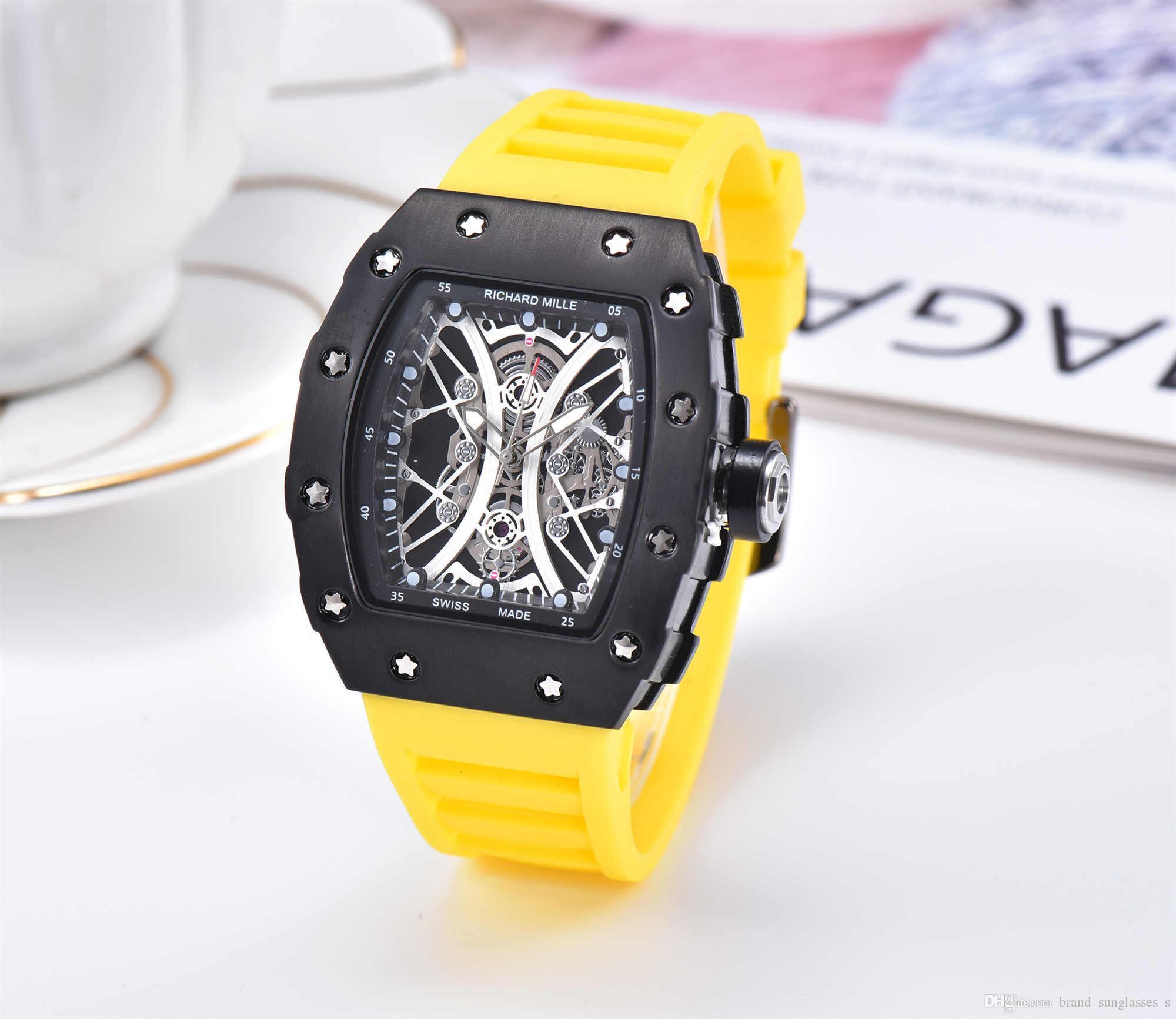 2020 venta caliente de los hombres del reloj de lujo de diseño del reloj de la correa de color Negro de silicona de moda ancho del reloj del reloj de cuarzo analógico Deporte Relogio Masculino