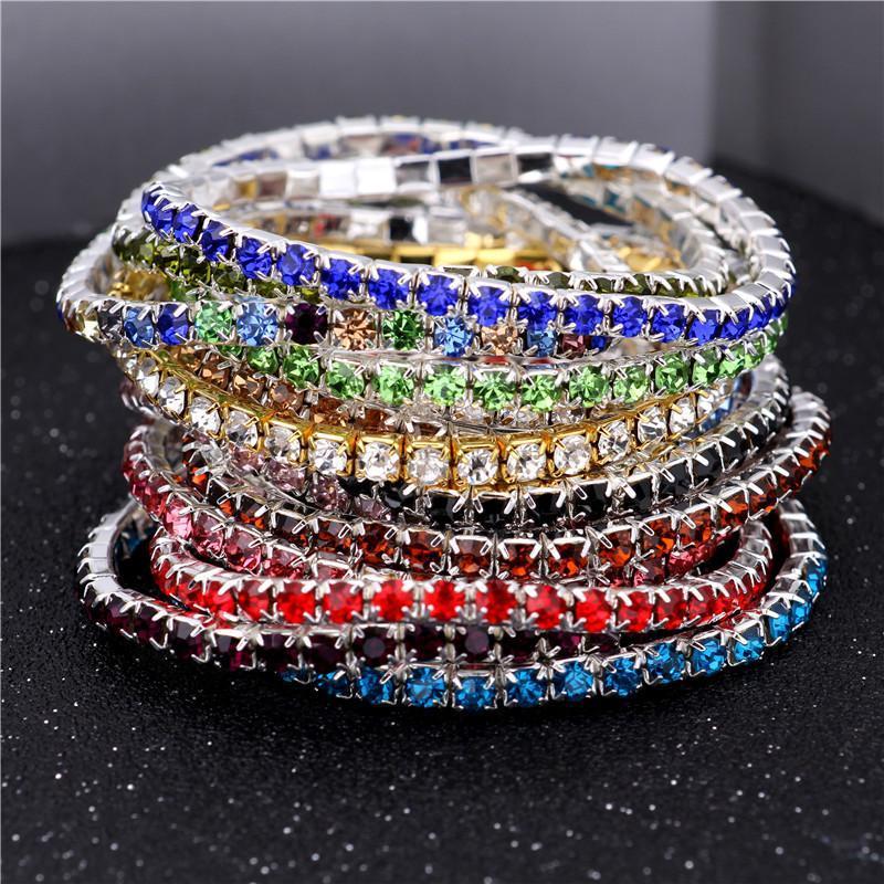 3.6mm 1 Égoutter en cristal de diamant Bracelet extensible Bracelet Bracelet Femmes de mariage Cadeaux de bijoux multiples couleurs Livraison gratuite