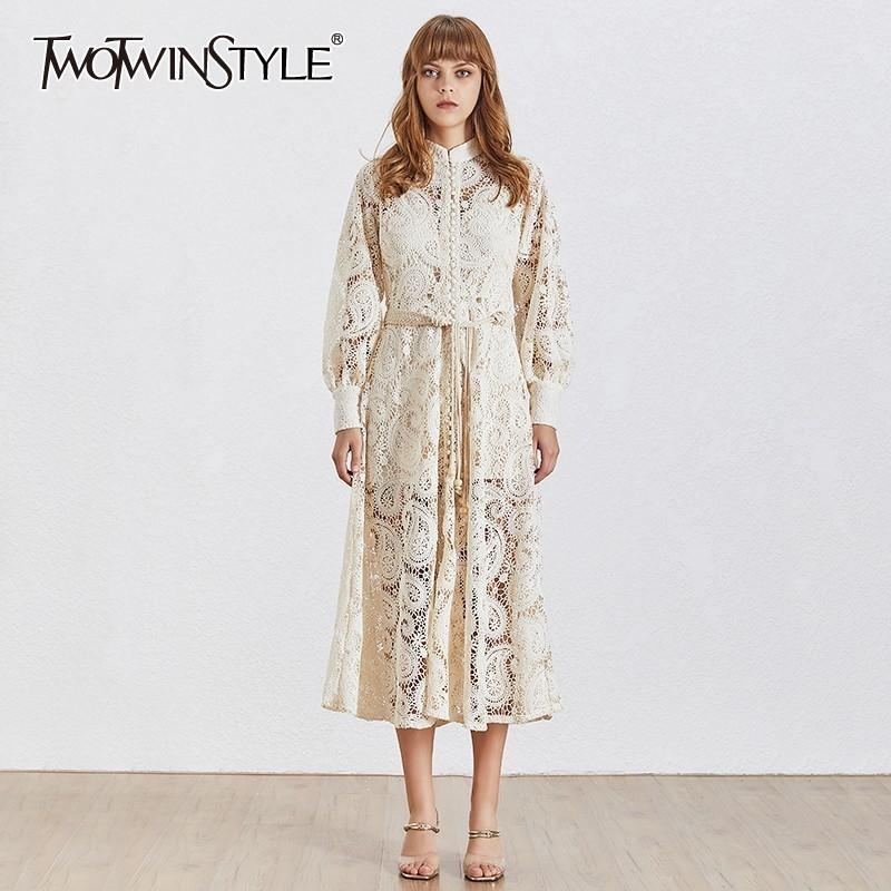 Twotwinstyle Elegant Hollow Out Women Dress Stand Lantern Sleeve High Waist Bandage With Vest Midi Dresses Female Fashion 2019 Y19073101