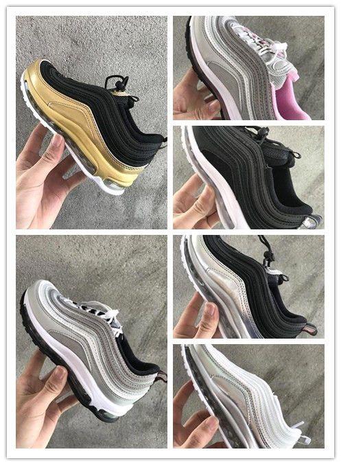 NIKE AIR MAX shoes 2018 crianças sapatos Almofada de Ar 97 OG Metálico Ouro Bala De Prata Triplo Branco preto 97 s Formadores Invicto plus tn Maxes undftd Tênis