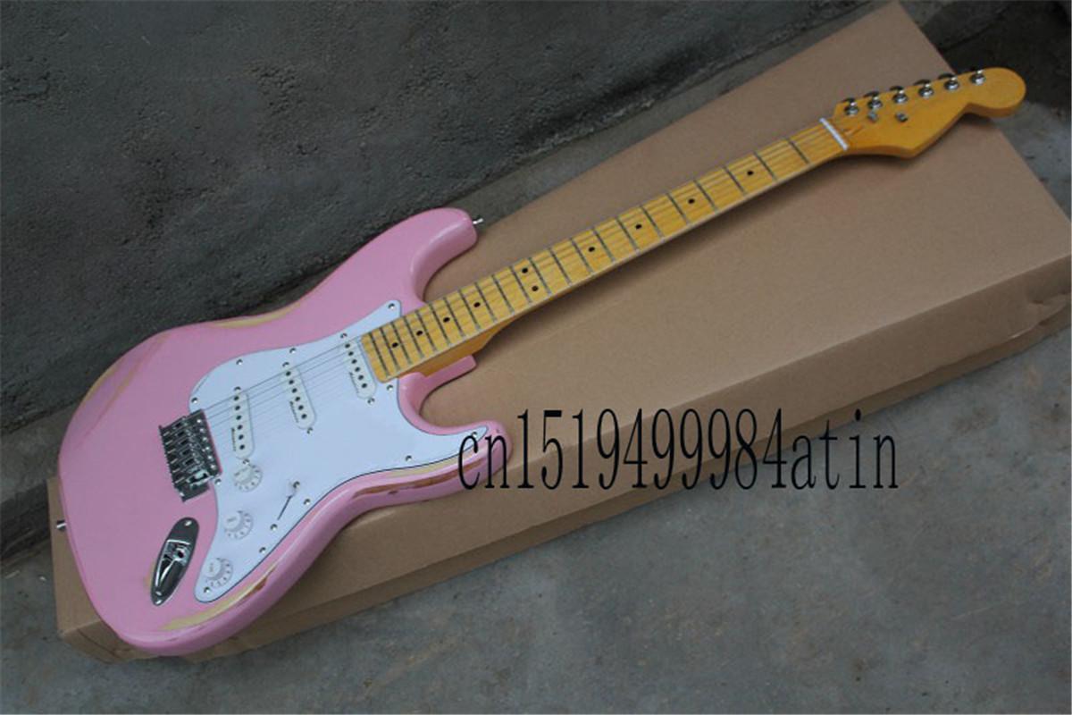 Trasporto libero superiore all'ingrosso nuova Stratocaster rosa chitarra elettrica sss corpo personalizzato