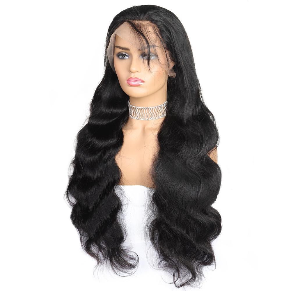 Glueless parte dianteira do laço do cabelo humano perucas para mulheres negras peruana Remy onda do corpo peruca dianteira do laço Pré arrancada do cabelo do bebê com