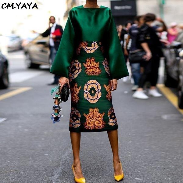 2019 novas mulheres paisley do vintage bodycon comprimento do joelho saias midi incendiar blusas manga terno 2pc set clássico DF0625MX190929 vestido de fato de treino