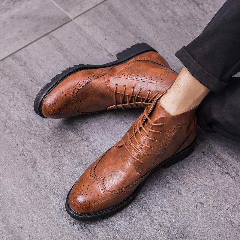 Sıcak Satış-Brogue Stil Bilek Bay Bot İngiliz Casual İlkbahar / Sonbahar Boots Erkek Temel Örgün Çizme Erkekler