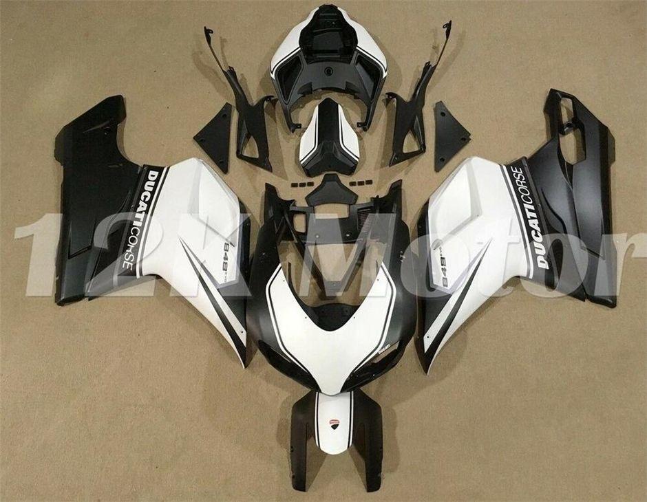 Hot sales New ABS Motorcycle Fairings Kit For DUCATI 848 1098 1198 2007 2008 2009 2010 2011 2012 Free custom White Black Matte