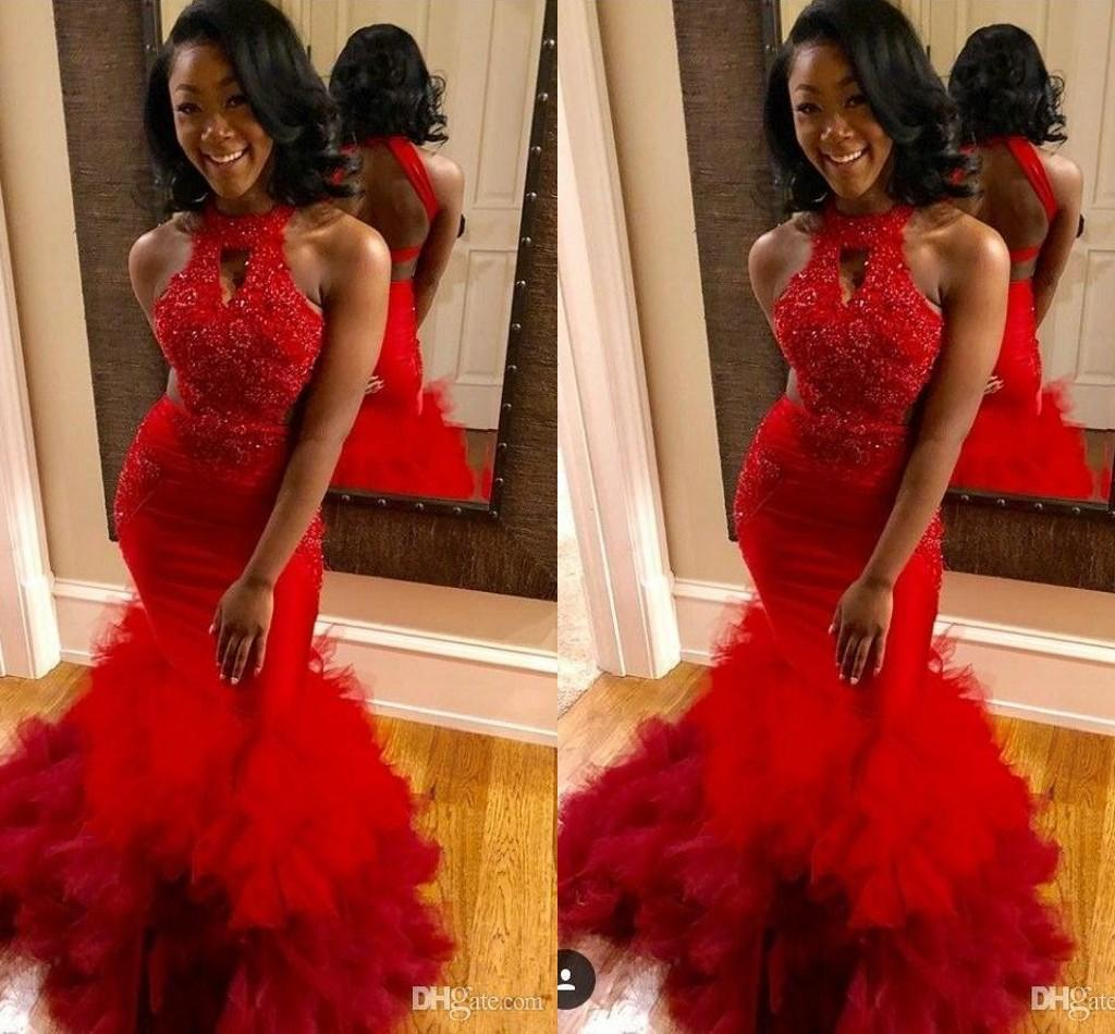 New Arrival Sexy Red Mermaid Prom Dresses Lace Applique Beaded Sweep Train Ruffles Tiered Tulle Party Gowns Formal Evening Dresses ogstuff