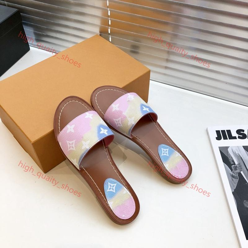 Louis Vuitton flip flop sandalias de las mujeres de lujo de la flor marca de diseño sandalias flip manera de las mujeres Tie-dye playa impresa unisex fracasos zapatilla Xshfbcl