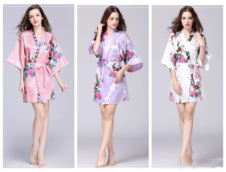Цветочные кимоно пижамы летние девушки леди ночная рубашка 12 стилей шелковые пижамы женские ночные рубашки V-образным вырезом pjms