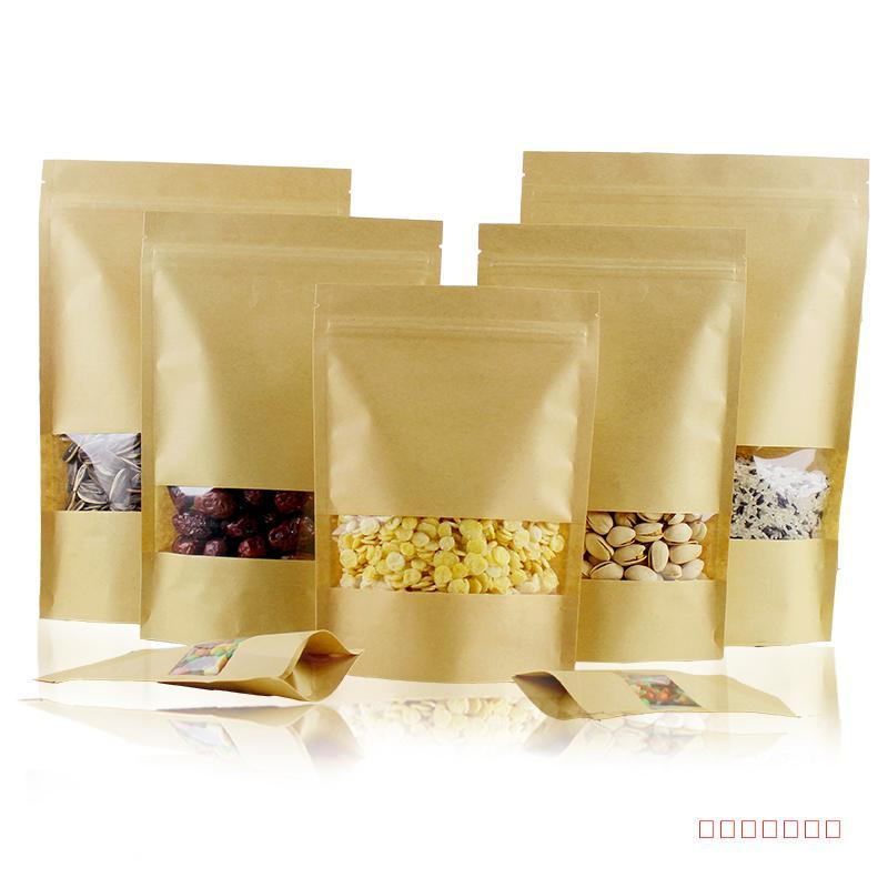 500Pcs/lot 13 Size Stand Up Doypack Zipper Kraft Paper Package With Clear Window Bag Storage Resealable Pouch