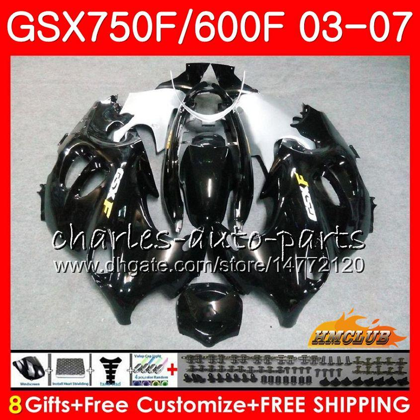 Corpo para Suzuki Glossy Black Katana GSXF750 GSXF600 2003 2004 2005 2006 2007 3HC.19 GSX600F GSX750F GSXF 600 750 03 04 05 06 07 Kit de justo