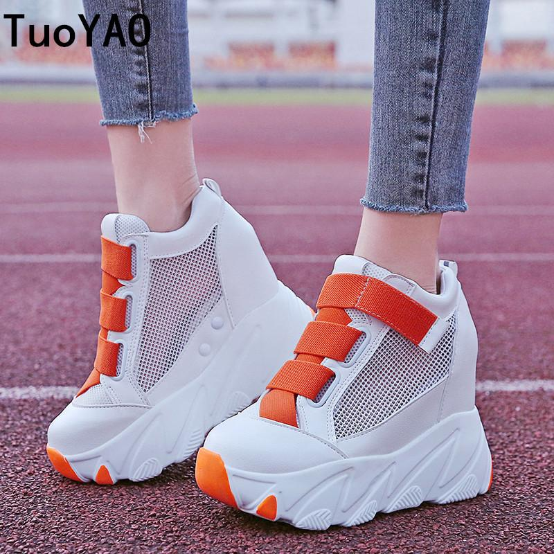Women Platform Sneakers 2019 Summer Breathable Mesh Shoes Women Wedges Heels Casual Shoes 11 CM Thick Sole Trainers White Shoes CJ191228