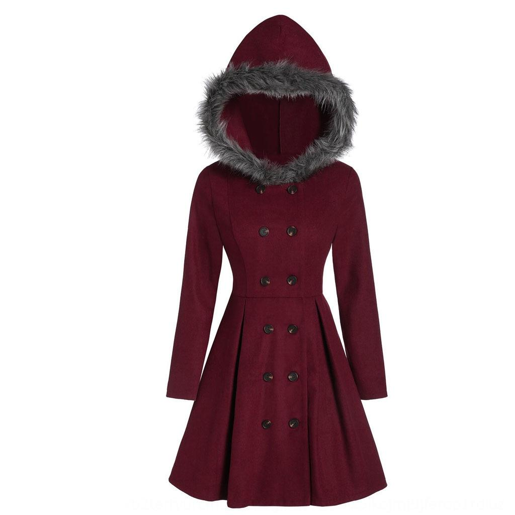 Principessa pelliccia incappucciato sottile incappucciato della pelliccia sottile del cappotto delle donne doppiopetto lungo principessa delle donne a doppio petto cappotto lungo