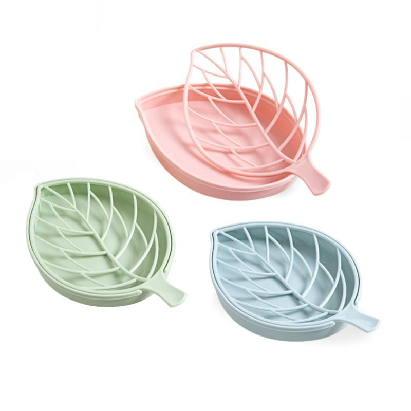 Household Storage Soap Box Bathroom Shower Draining Rack Soap Box Leaf Shape Storage Plate Tray Holder Container Drainage Dish