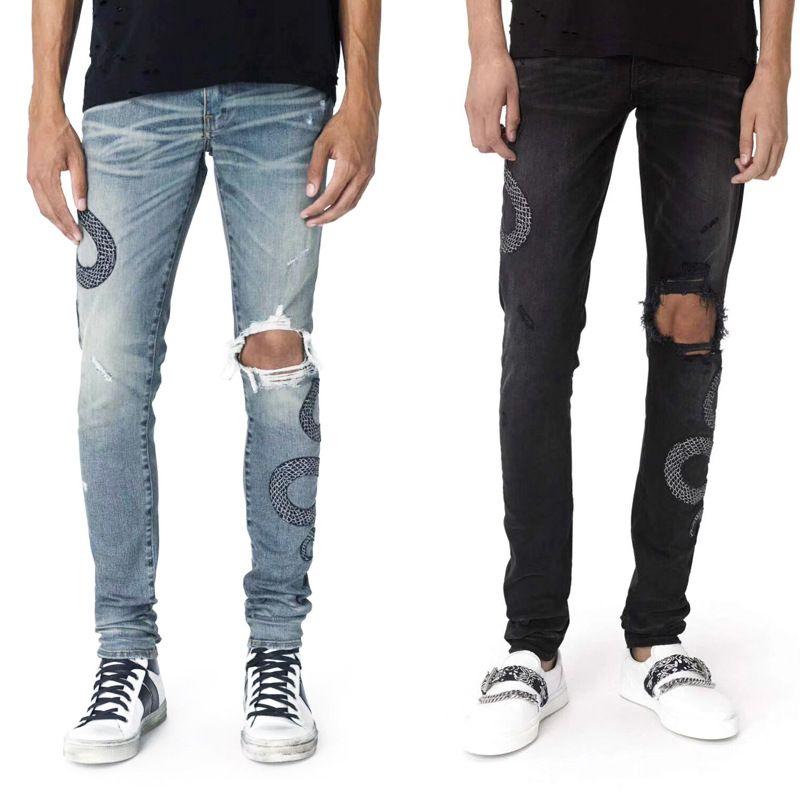 Männer Used-Look zerrissene dünne Jeans-Modedesigner-Herren Jeans-dünne Motorradfahrer Causal Herren-Denim-Hosen Hip Hop-Mann-Jeans
