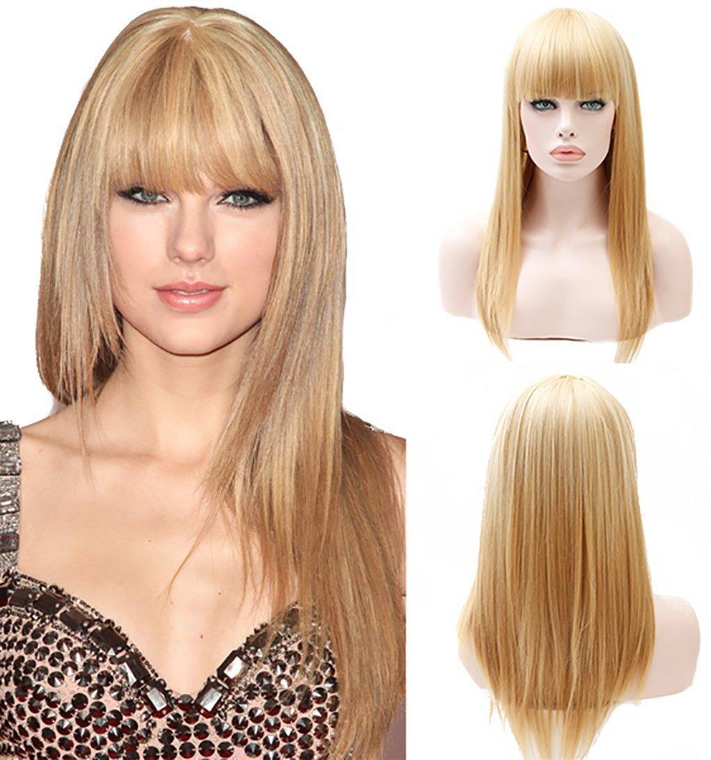 Femmes européennes et américaines de style perruque Qi Liu cheveux longs et lisses d'or Cheveux longs haute température fil synthétique Caps cheveux usine Wholesal