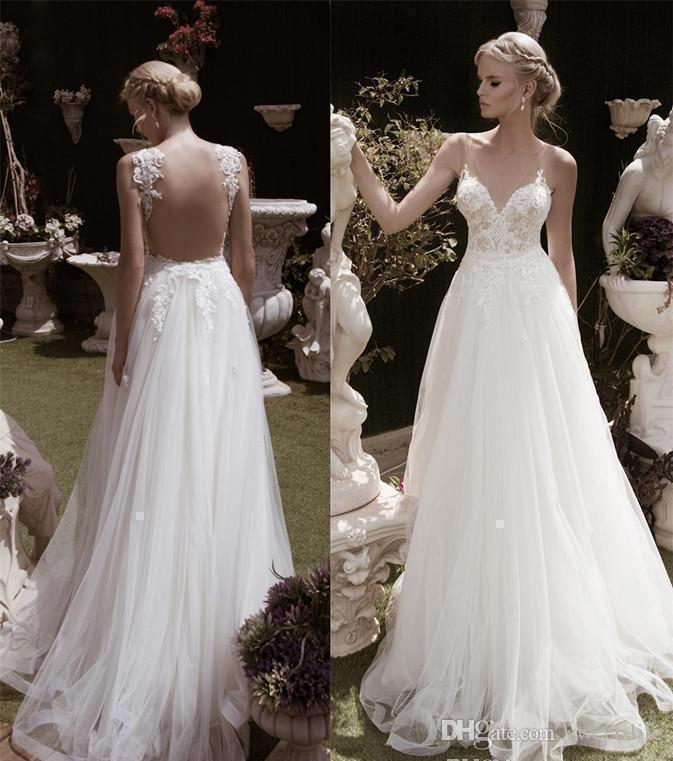 Sexy Backless Beach Wedding Dresses Turkey Deep V neck Lace Wedding Dress Illusion Bodice Backless Beach Bridal Dress