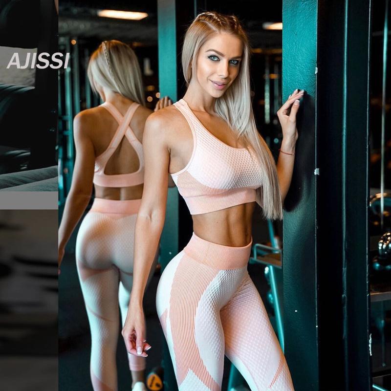 vestiti di yoga Delle Donne Palestra Vestiti 2 Pezzo Femminile Delle Donne Palestra Leggings Vestiti Set Abbigliamento Fitness Sport Corsa E jogging Leggings Wear set Y200413