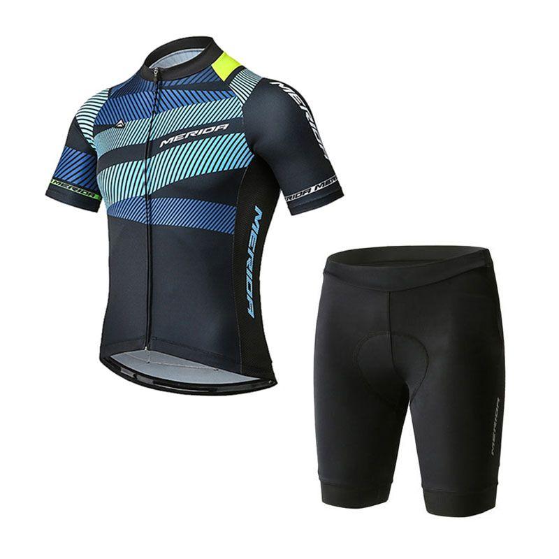 Merida Takımı Kısa Kollu Jersey (BIB) Şort Setleri Pro Giyim Dağ Nefes Yarış Spor Bisiklet Maillot Yumuşak Cilt Dostu Açık Yaz Z40522
