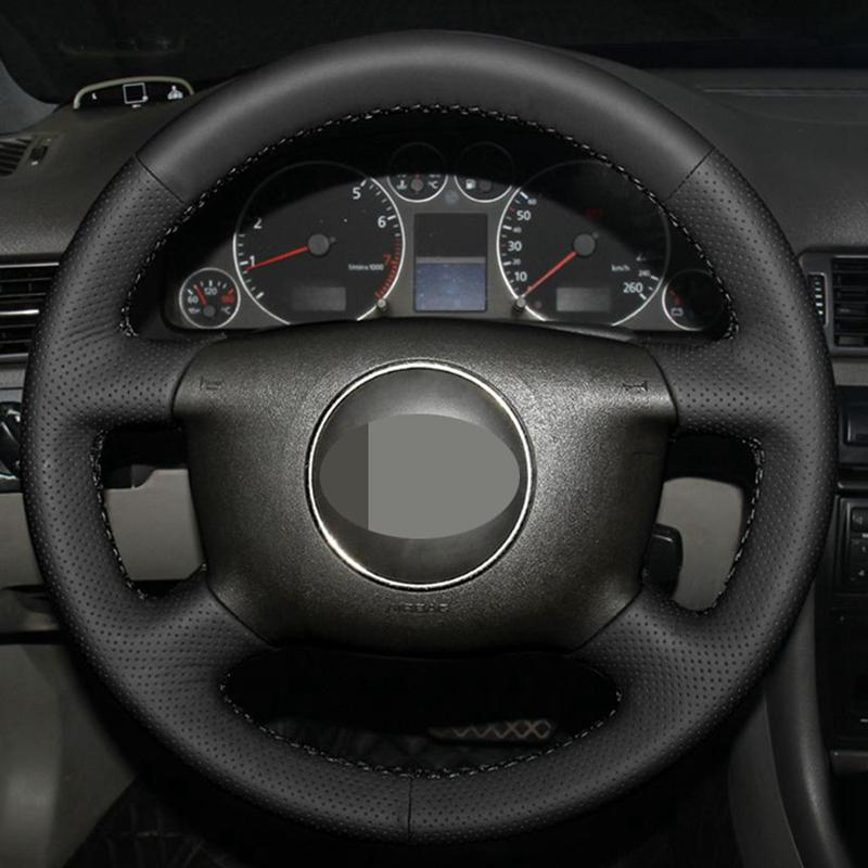 DIY Black Hige Soft Artificial Leather Car Steering Wheel Cover for A6 1999-2004 A4 1998 A8 A8 L 1998-2001 Allroad 2001