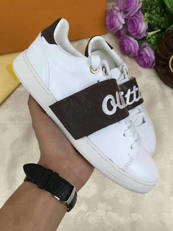Louis Vuitton LV Time Out sneakers sapatos Mulheres Genuine sapatos de couro genuíno mulher do couro de sapatos casuais Tamanho 35-41 mn03