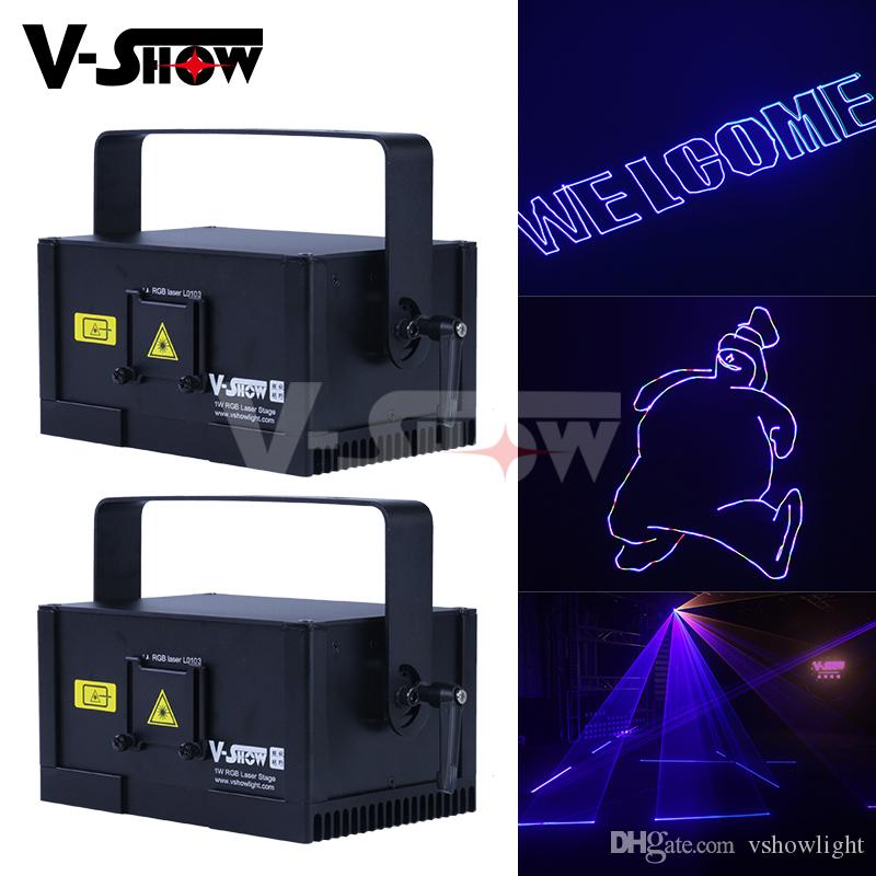 2pc 2019 best 1W RGB DMX Control Animation Laser Satge Light Programmable Laser Projector Dj Light For Bar Disco dj