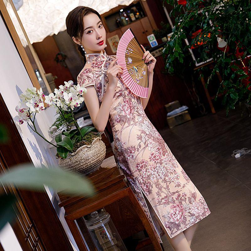 Primavera 2020 de mitad de largo de doble capa de seda cheongsam con las mangas cortas chic y elegante vestido cheongsam chino cheongsam vestido de la señora