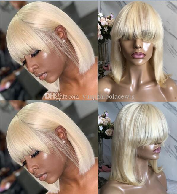 Short Bob Cut Lace Front Wig with Bang 613 Blonde Color Malaysian Virgin Human Hair Full Lace Wig for Black Woman Free Shipping