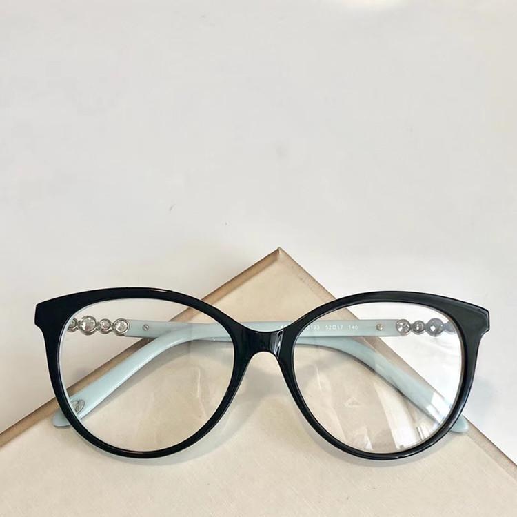 2020 Fashional والزرقاء TF2134eleglant النساء نظارات الماس الاصطناعي إطار المعبد زينت لصفة النظارات الحالة fullset