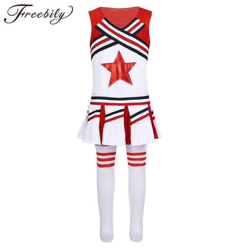Дети Девушка Cheerleader Униформа Черлидинг костюм обмундирование рукава Красная звезда аппликация Топы с юбкой Носками танцевальной одеждой Set