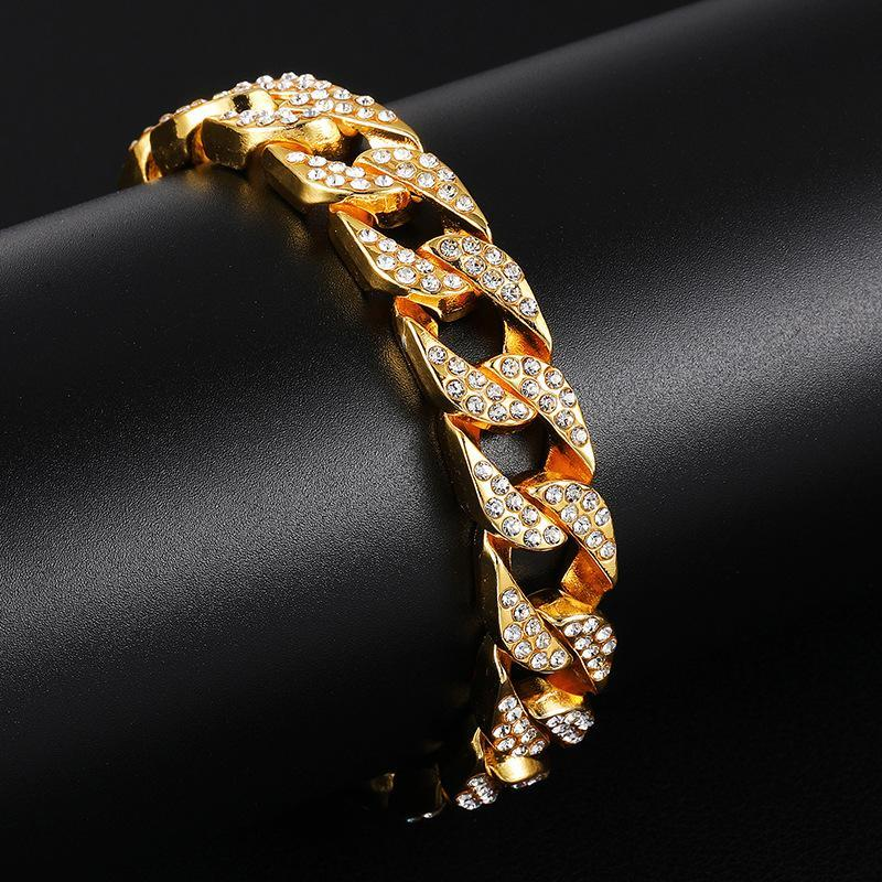 New Bling Diamond Mens Hip Hop Iced Out Cuban Link Chain Bangle Bracelets Miami Gold Silver Curb Chains Wristband Birthday Gifts for Guys