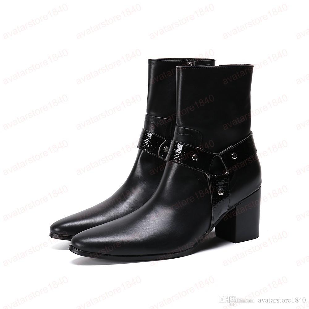 Klasik Büyük Beden Siyah Hakiki Deri Erkek Sivri Burun yükseltmek Ayakkabı Erkek Motosiklet Boots Man Parti Çizme