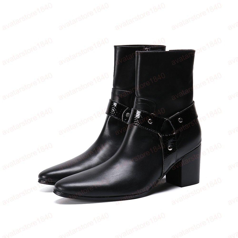 Klassische Large Size Schwarz-echtes Leder Männer Spitzschuh Heighten Stiefel Herren Motorradstiefel-Mann-Partei Stiefel