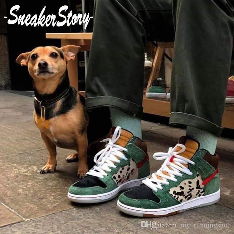 2020 nuevos zapatos del SB Dunk Perro Walker alta del grano del leopardo de baloncesto para los zapatos de calidad superior de los hombres de las mujeres zapatillas de deporte Marcas Aire libre Formadores EUR 36-45