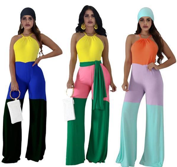 Lambrissé Halter femmes Designer Tenues de femmes sexy bonbons couleur en vrac Tenues Mode Femmes Fêtes barboteuses avec Jupettes